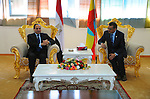 A handout picture made available by the Office of the Egyptian President shows Ethiopian Foreign Minister, Tedros Adhanom Ghebreyesus (R), sitting with the Egyptian President, Abdel Fattah al-Sisi (L), shortly after his arrival in Addis Ababa, Ethiopia, 29 January 2015. According to local media reports al-Sisi is heading a delegation on a three day visit ahead of the African Summit in Ethiopia, which has enjoyed a tense relationship with Egypt as a result of the Grand Renaissance Dam project which could reduce the amount of Egypt's share of the Nile waters. apaimages / Egyptian Presidency