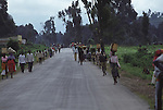 Rwanda has a good  network of roads and little traffic.  This is the road out to the Central Democratic Republic of Congo (CAR)