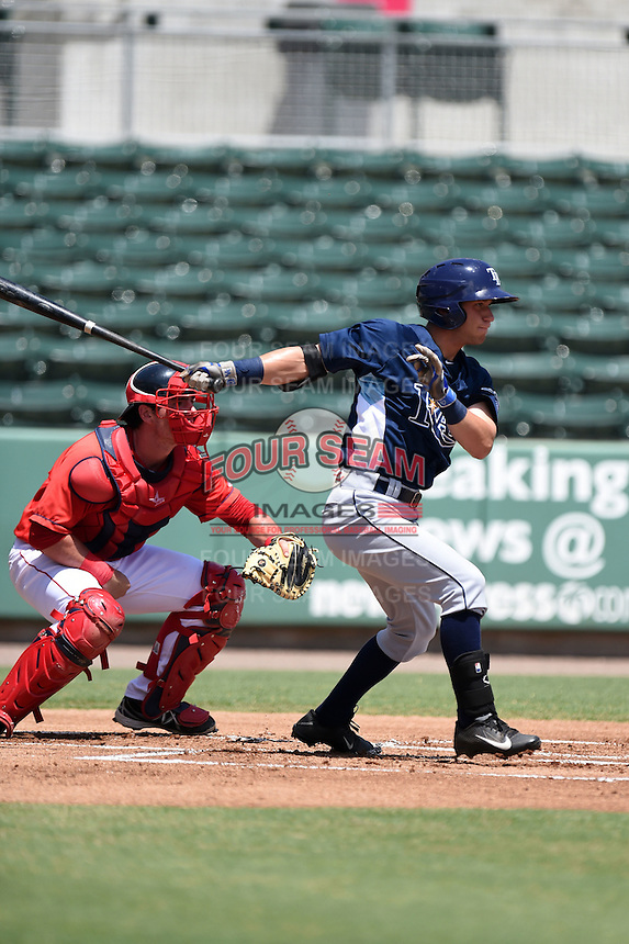 GCL Rays second baseman Matt Reida (9) at bat in front of catcher Alex McKeon (37) during a game against the GCL Red Sox on June 25, 2014 at JetBlue Park at Fenway South in Fort Myers, Florida.  GCL Red Sox defeated the GCL Rays 7-0.  (Mike Janes/Four Seam Images)