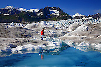 Standing on Columbia Glacier, Prince William Sound, Chugach National Forest, Alaska.
