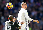 Real Madrid's Cristiano Ronaldo (r) and Granada CF's Gabriel Silva during La Liga match. January 7,2016. (ALTERPHOTOS/Acero)