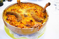 Les Corbieres. Languedoc. Cassoulet stew with white beans tomato sausages leg of duck. France. Europe.