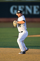 Nate Mondou (10) of the Wake Forest Demon Deacons makes a throw to first base during infield practice prior to the game against the Georgetown Hoyas at David F. Couch Ballpark on February 19, 2016 in Winston-Salem, North Carolina.  The Demon Deacons defeated the Hoyas 3-1.  (Brian Westerholt/Four Seam Images)
