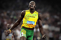 Jamaican runner Usain Bolt celebrates after the victory with the new world record of 19.32 seconds during the Men's 200m athletics final at the XXIXth Olympic Games of BeiJing 2008 in Beijing, China, August 20, 2008.