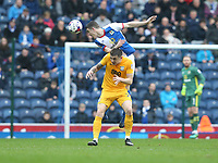 Blackburn Rovers' Darragh Lenihan rises above Preston North End's Jordan Hugill<br /> <br /> Photographer Stephen White/CameraSport<br /> <br /> The EFL Sky Bet Championship - Blackburn Rovers v Preston North End - Saturday 18th March 2017 - Ewood Park - Blackburn<br /> <br /> World Copyright &copy; 2017 CameraSport. All rights reserved. 43 Linden Ave. Countesthorpe. Leicester. England. LE8 5PG - Tel: +44 (0) 116 277 4147 - admin@camerasport.com - www.camerasport.com