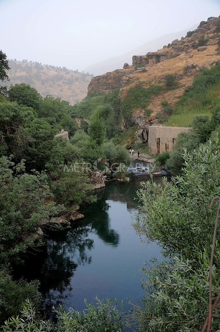 CHUMI GOALEYA, IRAQ: A river in the Kurdish mountains where fishermen come to set their nets.<br /> <br /> Fishermen high in the Kurdish mountains use nets to catch river fish.  <br /> <br /> Photo by Pazhar Muhammed