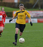 20151128 - PITTEM , BELGIUM : Angelique Veracx pictured during a soccer match between the women teams of DVK Egem Ladies and KVK Svelta Melsele  , during the eleventh matchday in the Second League - Tweede Nationale season, Saturday 28 November 2015 . PHOTO DAVID CATRY
