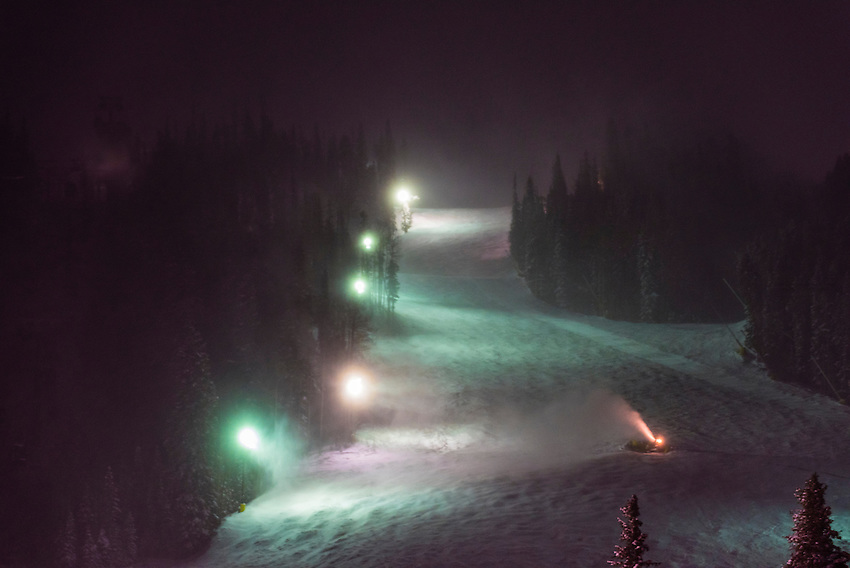 Snowmaking, Keystone Resort, Colorado USA.