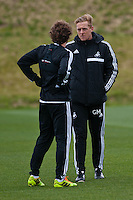 Thursday 20 March 2014<br /> Pictured: Garry Monk, Manager of Swansea City talk to Jose Canas<br /> Re: Swansea City Training at their Fairwood training facility, Swansea, Wales,UK