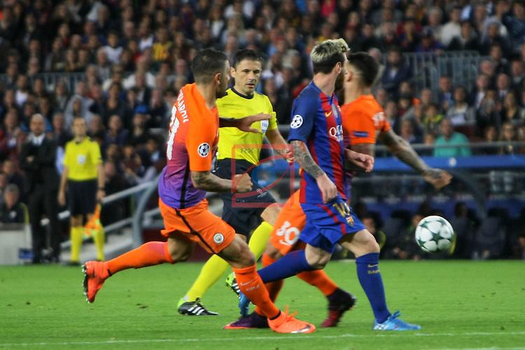 UEFA Champions League 2016/2017 - Matchday 3.<br /> FC Barcelona vs Manchester City FC: 4-0.<br /> Aleksandar Kolarov vs Lionel Messi.