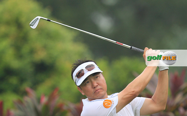Charlie Wi (USA) on the 4th tee during Round 3 of the CIMB Classic in the Kuala Lumpur Golf &amp; Country Club on Saturday 1st November 2014.<br /> Picture:  Thos Caffrey / www.golffile.ie