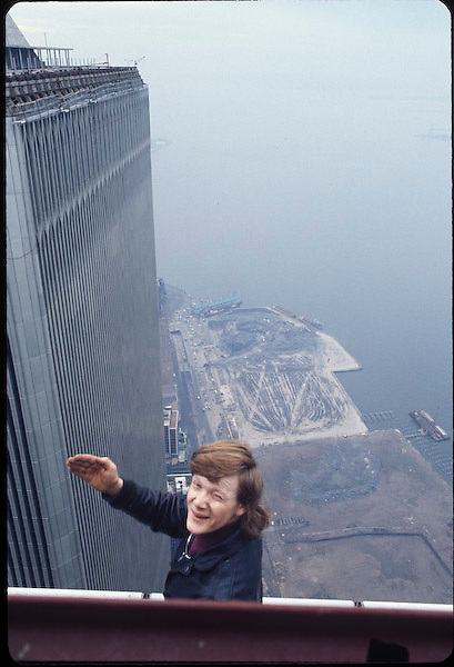 Philippe Petit on edge of South Tower of WTC.