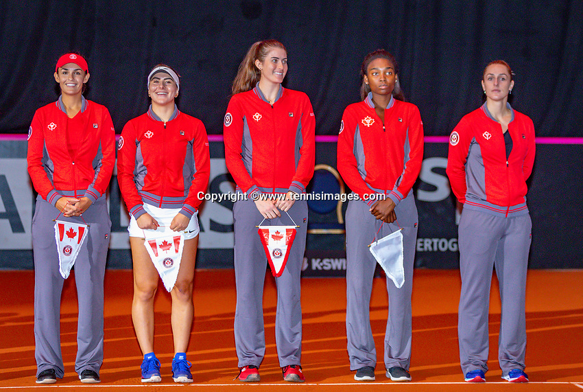 Den Bosch, The Netherlands, Februari 9, 2019,  Maaspoort , FedCup  Netherlands - Canada, Team Canada at national auntem<br /> Photo: Tennisimages/Henk Koster