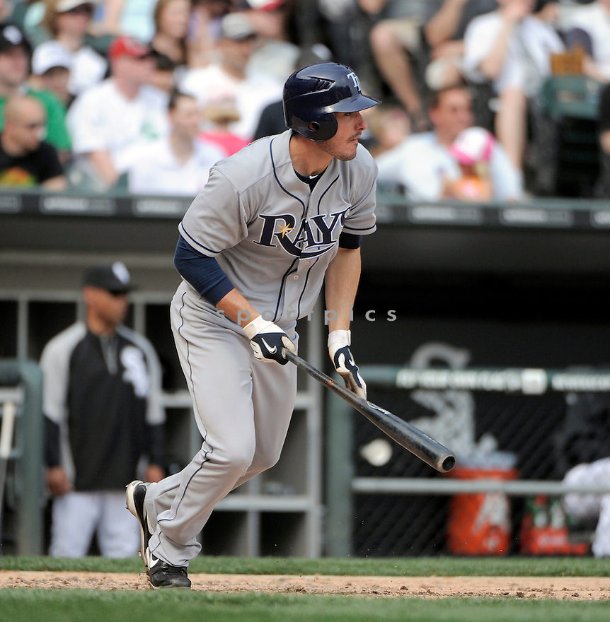 MATT JOYCE, of the Tampa Bay Rays , in actions during the Rays game against the Chicago White Sox at US Cellular Field on April 10, 2011.  The Chicago White Sox won the game beating the Tampa Bay Rays 6-1.