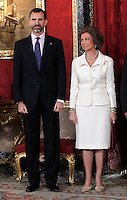 Spain's Queen Sofia and crown Prince Felipe during audiences. February 13, 2013. (ALTERPHOTOS/Alvaro Hernandez) /NortePhoto