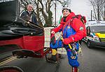 170318<br /> John Burke climbs aboard with Mayor of Ennis Paul Murphy, during St Patricks Day parade in Ennis.Pic Arthur Ellis.