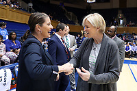 DURHAM, NC - JANUARY 26: Head coach Joanne P. McCallie of Duke University and head coach Nell Fortner of Georgia Tech shake hands during a game between Georgia Tech and Duke at Cameron Indoor Stadium on January 26, 2020 in Durham, North Carolina.