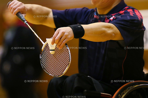 Detail shot, <br /> FEBRUARY 6, 2016 - Badminton : <br /> The 1st Japan National Badminton Championships <br /> Men's singles WH1 2 <br /> at Kurume city western gymnasium, Fukuoka, Japan. <br /> (Photo by Yohei Osada/AFLO SPORT)