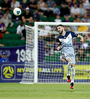 1st February 2020; HBF Park, Perth, Western Australia, Australia; A League Football, Perth Glory versus Melbourne Victory; Storm Roux of Melbourne Victory heads the ball away from trouble for Melbourne