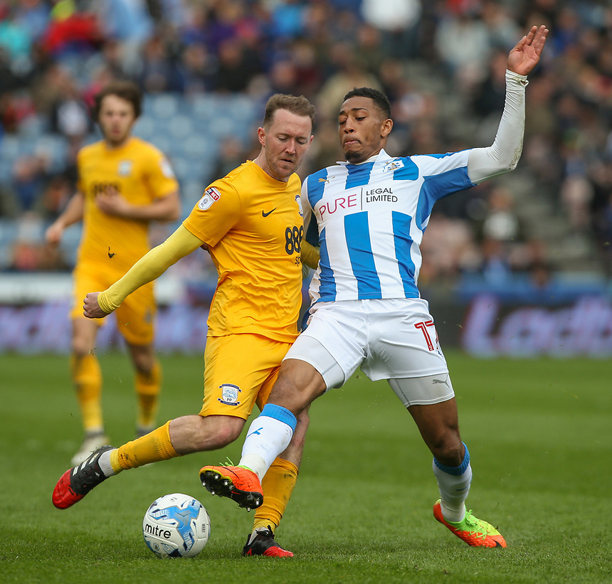 Preston North End's Aidan McGeady battles with Huddersfield Town's Rajiv van La Parra<br /> <br /> Photographer Alex Dodd/CameraSport<br /> <br /> The EFL Sky Bet Championship - Huddersfield Town v Preston North End - Friday 14th April 2016 - The John Smith's Stadium - Huddersfield<br /> <br /> World Copyright &copy; 2017 CameraSport. All rights reserved. 43 Linden Ave. Countesthorpe. Leicester. England. LE8 5PG - Tel: +44 (0) 116 277 4147 - admin@camerasport.com - www.camerasport.com