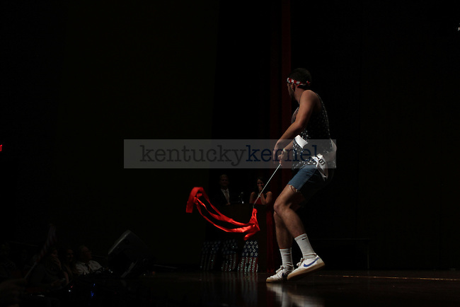 Benjamin McNutt dances in the Mr. UK 2013 pageant in the Singletary Center in Lexington Ky., on Monday, Oct., 30, 2013. Photo by Judah Taylor | Staff