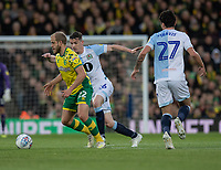 Blackburn Rovers' Darragh Lenihan (center) battles with Norwich City's Teemu Pukki (right) <br /> <br /> Photographer David Horton/CameraSport<br /> <br /> The EFL Sky Bet Championship - Norwich City v Blackburn Rovers - Saturday 27th April 2019 - Carrow Road - Norwich<br /> <br /> World Copyright © 2019 CameraSport. All rights reserved. 43 Linden Ave. Countesthorpe. Leicester. England. LE8 5PG - Tel: +44 (0) 116 277 4147 - admin@camerasport.com - www.camerasport.com