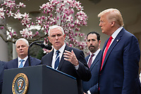 nited States Vice President Mike Pence, joined by United States President Donald J. Trump, members of the Coronavirus Task Force, and Industry Executives, speaks during a news conference in the Rose Garden at the White House in Washington D.C., U.S., on Friday, March 13, 2020.  Trump announced that he will be declaring a national emergency in response to the Coronavirus.  Credit: Stefani Reynolds / CNP/AdMedia