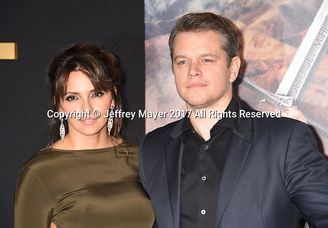 HOLLYWOOD, CA - FEBRUARY 15: Actor Matt Damon (R) and wife Luciana Barroso arrive at the premiere of Universal Pictures' 'The Great Wall' at TCL Chinese Theatre IMAX on February 15, 2017 in Hollywood, California.