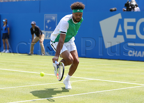 June 19th 2017, Queens Club, West Kensington, London; Aegon Tennis Championships, Day 1; Jo-Wilfried Tsonga of France plays the low return over the net while defeating Adrian Mannarino of France