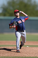 Cleveland Indians pitcher Sean Brady (34) during an Instructional League game against the NC Dinos on October 12, 2013 at Camelback Ranch Complex in Glendale, Arizona.  (Mike Janes/Four Seam Images)