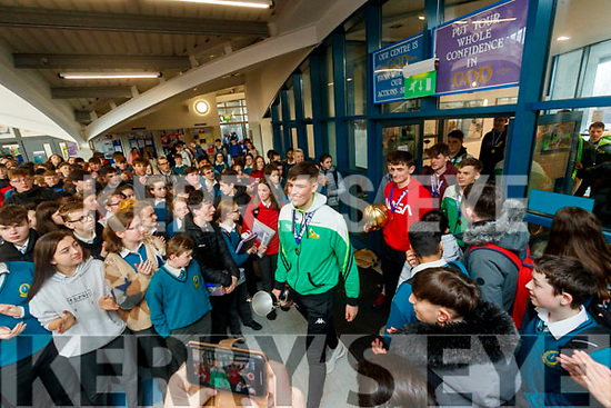 Mercy Mounthawk basketball team celebrate winning the U-19 All Ireland Basketball final at the school on Wednesday.