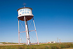 Leaning watertower for Britten, USA, along I-40 in the Texas Panhandle