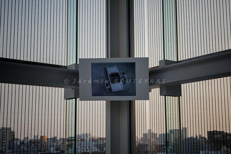 "Tokyo, May 15 2013 -Sunbeam - Exhibition ""Monuments of Traffic"" by German artist Thomas Bayrle at L'Espace Louis Vuitton Tokyo. ©Jeremie Souteyrat/Louis Vuitton"