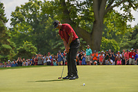 Tiger Woods (USA) sinks his birdie putt on 2 during 4th round of the World Golf Championships - Bridgestone Invitational, at the Firestone Country Club, Akron, Ohio. 8/5/2018.<br /> Picture: Golffile | Ken Murray<br /> <br /> <br /> All photo usage must carry mandatory copyright credit (© Golffile | Ken Murray)