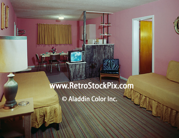Rest Cove Motel, Wildwood, NJ. Efficiency Room with a Black & White TV. 1960.