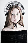 Close up of young girl wearing black