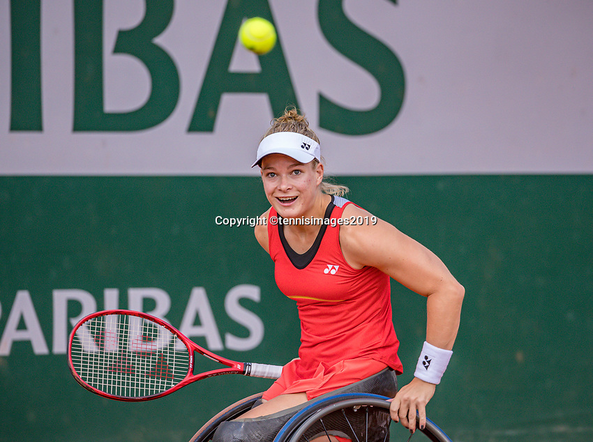 Paris, France, 6 june, 2019, Tennis, French Open, Roland Garros, Wheelchair womans singles: Dide de Groot (NED)<br /> Photo: Henk Koster/tennisimages.com