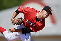 Batavia Muckdogs relief pitcher Dylan Cyphert (46) delivers a pitch during a game against the State College Spikes on July 8, 2018 at Dwyer Stadium in Batavia, New York.  Batavia defeated State College 8-3.  (Mike Janes/Four Seam Images)