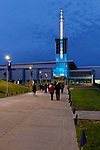 The Athletics and Events Center at Ithaca College on the evening of the 125th year celebration, Ithaca, New York, USA