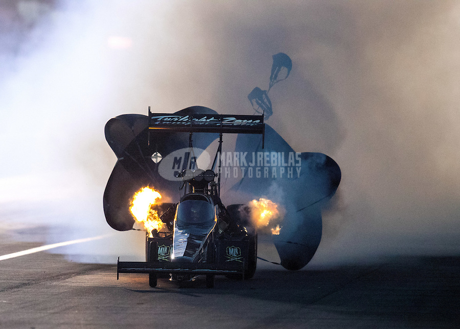 Nov 11, 2016; Pomona, CA, USA; NHRA top fuel driver Tripp Tatum during qualifying for the Auto Club Finals at Auto Club Raceway at Pomona. Mandatory Credit: Mark J. Rebilas-USA TODAY Sports