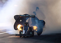 Nov 11, 2016; Pomona, CA, USA; NHRA top fuel driver Tripp Tatum during qualifying for the Auto Club Finals at Auto Club Raceway at Pomona. Mandatory Credit: Mark J. Rebilas-USA TODAY Sports