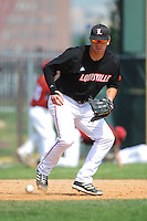University of Louisville Cardinals infielder Alex Chittenden (4) during practice before a game against the Temple University Owls at Campbell's Field on May 10, 2014 in Camden, New Jersey. Temple defeated Louisville 4-2.  (Tomasso DeRosa/ Four Seam Images)