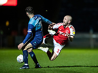 Fleetwood Town's Paddy Madden is tackled by Wycombe Wanderers' Joe Jacobson (left) <br /> <br /> Photographer Andrew Kearns/CameraSport<br /> <br /> The EFL Sky Bet League One - Wycombe Wanderers v Fleetwood Town - Tuesday 11th February 2020 - Adams Park - Wycombe<br /> <br /> World Copyright © 2020 CameraSport. All rights reserved. 43 Linden Ave. Countesthorpe. Leicester. England. LE8 5PG - Tel: +44 (0) 116 277 4147 - admin@camerasport.com - www.camerasport.com