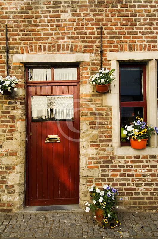 Belgium, Ghent, House door and window closeup