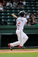 Left fielder Mike Meyers (2) of the Greenville Drive bats in a game against the Asheville Tourists on Friday, April 24, 2015, at Fluor Field at the West End in Greenville, South Carolina. Greenville won, 5-2. (Tom Priddy/Four Seam Images)