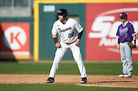 Michael Ludowig (22) of the Wake Forest Demon Deacons takes his lead off of second base against the Furman Paladins at BB&T BallPark on March 2, 2019 in Charlotte, North Carolina. The Demon Deacons defeated the Paladins 13-7. (Brian Westerholt/Four Seam Images)