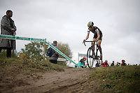Nicolas Cleppe (BEL/Telenet-Fidea) making some air <br /> <br /> U23<br /> Superprestige Zonhoven 2015