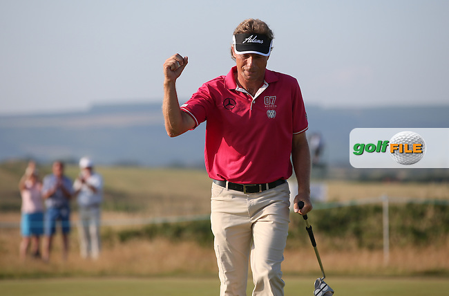 Bernhard Langer (GER) takes a two shot lead with a 65 over the field during Round One of the 2014 Senior Open Championship presented by Rolex from Royal Porthcawl Golf Club, Porthcawl, Wales. Picture:  David Lloyd / www.golffile.ie