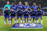 The Chelsea team ahead of the UEFA Champions League Group match between Chelsea and Dynamo Kyiv at Stamford Bridge, London, England on 4 November 2015. Photo by David Horn.