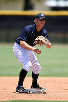 GCL Yankees 2 shortstop Tyler Palmer (31) waits for a throw down during a game against the GCL Braves on June 23, 2014 at the Yankees Minor League Complex in Tampa, Florida.  GCL Yankees 2 defeated the GCL Braves 12-4.  (Mike Janes/Four Seam Images)